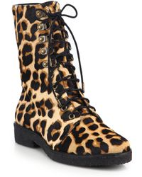 Diane Von Furstenberg Ace Leopard Print Calf Hair Ankle Boots - Lyst