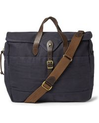 J.Crew Abingdon Waxed Cotton-canvas and Leather Laptop Bag - Lyst