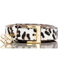 Kate Spade Leopard Hair Calf Belt With Spade Charm - Multicolour
