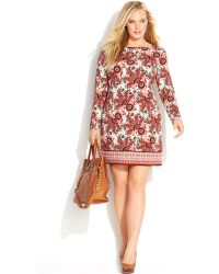 Michael Kors Michael Plus Size Long-Sleeve Paisley-Print Shift Dress - Lyst