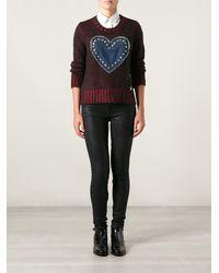 Love Moschino Chunky Denim Heart Sweater - Lyst