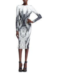 Alexander McQueen Longsleeve Furprinted Jersey Dress - Lyst