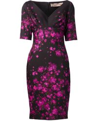 Lela Rose Magenta Floral Print Vneck Dress - Lyst