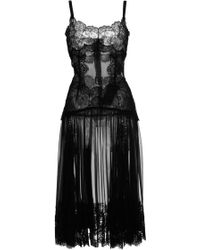 Dolce & Gabbana Black Chiffon Slip with Lace Detail - Lyst