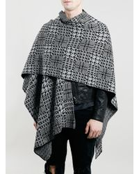 LAC | Bk And Grey Check Cape | Lyst