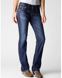 True Religion Womens Becky Petite Boot Cut Jean - Lyst