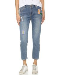 SJYP Distressed Cropped Jeans - Blue