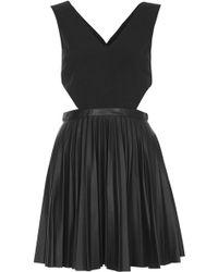 Topshop Pleated Pu Skater Dress  Black - Lyst