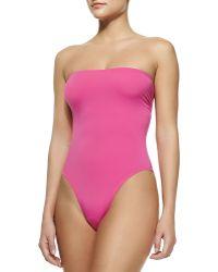 Norma Kamali Bishop Bandeau One-Piece Swimsuit - Lyst