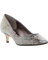 Dune Allice Reptile-print Kitten-heel Court Shoes, Women's, Size: Eur 39 / 6 Uk Women, Pewter-reptile - Metallic
