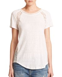 Rebecca Taylor Lace-Detail Linen Tee blue - Lyst