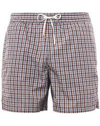 Brioni - Check-Print Swim Shorts - Lyst