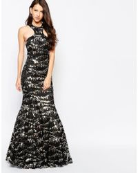 Key Collections - Ashley Roberts For Sparkle Maxi Dress In Sequins - Black - Lyst