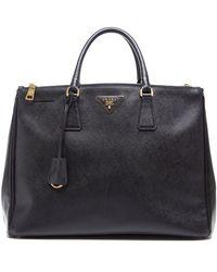 Prada Preowned Black Saffiano Lux Double Zipped Tote Bag - Lyst