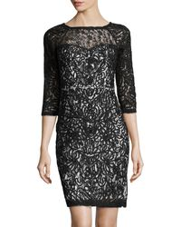 Sue Wong 34sleeve Lace Cocktail Dress - Lyst