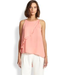 Halston Heritage Flounce Draped Top - Lyst