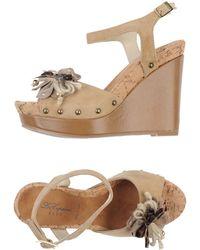 Blue Les Copains Beige Sandals - Lyst