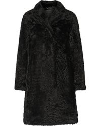Marc Jacobs Black Shearling Coat - Lyst