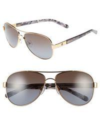Tory Burch 57Mm Polarized Aviator Sunglasses - Lyst