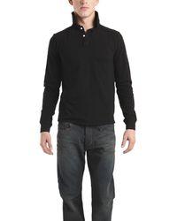 Spurr By Simon Spurr Long Sleeve Polo In Black - Lyst