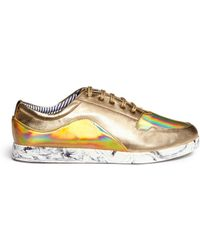 Charles Philip - 'pwp' Holographic Panel Metallic Leather Sneakers - Lyst