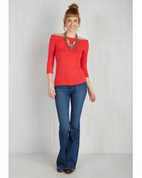 East Concept Fashion Ltd   Cafe Parfait Top In Red - 3/4 Sleeves   Lyst