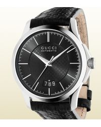 Gucci G-timeless Collection Medium Diamante Leather Watch - Lyst