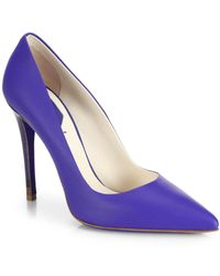 Fendi Anne Leather Point-Toe Pumps - Lyst