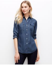 Ann Taylor Petite Snap Chambray Shirt - Lyst