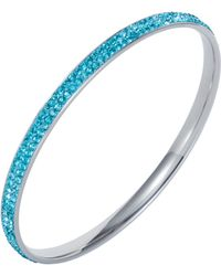 Aurora Flash - Stainless Steel Cubic Zirconia Turquoise Bangle - Lyst