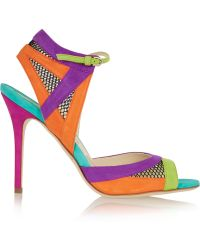 Brian Atwood Iara Mesh-Paneled Color-Block Suede Sandals - Lyst