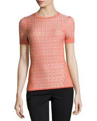 Carolina Herrera Short-sleeve Ribbed Sweater - Lyst