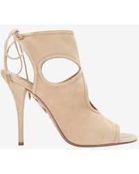 Aquazzura - Sexy Thing Cut Out Suede Sandal: Nude - Lyst