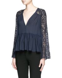 Elizabeth and James | 'lija' Floral Guipure Lace Silk Blouse | Lyst
