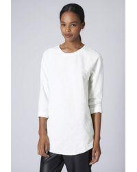 Topshop Womens Check Jacquard Sweat Tunic  White - Lyst
