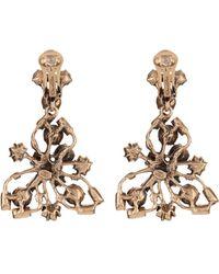 Oscar de la Renta Crystal Flower Clip On Earrings gold - Lyst