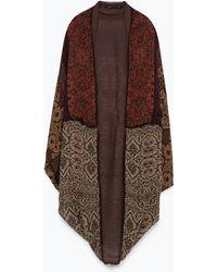 Zara Printed Jacket brown - Lyst