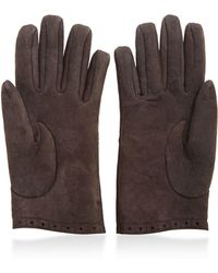 What Goes Around Comes Around Hermes Brown Lambskin Embroidered Gloves - Lyst