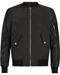 Diesel Lulu Leather Sleeve Bomber Jacket - Lyst