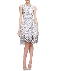 Oscar de la Renta Speckled Eyelash Tweed Dress With Eyelet Hem - Lyst