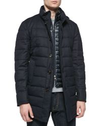 Moncler Quilted Wool Longer Puffer Jacket - Lyst