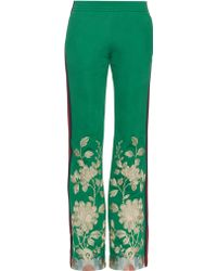 Gucci Embroidered Slim-Fit Track Pants - Green