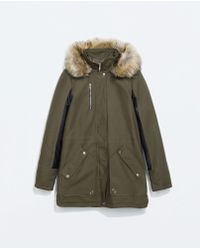 Zara Combined Parka With Fur Hood - Lyst