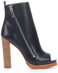 Rachel Zoe Navy Leather 'Jillian' Open Toe Moto Boots - Lyst