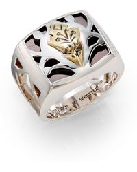 Stephen Webster Sterling Silver Carved Inlay Ring - Metallic