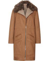 Rodarte Caramel Doubleface Wool Coat with Shearling Collar - Brown