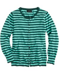 J.Crew Collection Featherweight Cashmere Cardigan In Tonal Stripe green - Lyst