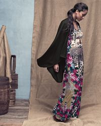 Melissa Masse Cashmere Cape  Printed Luxe Jersey Maxi Dress - Lyst