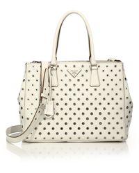 prada handbags cheap authentic - Prada Saffiano Lux Small Baiadera Double Zip Tote in Brown ...