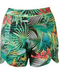 Blue Man - High Waist Foliage Print Shorts - Lyst